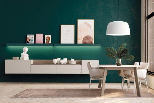 Mueble salón de Lagrama en color claro y fondo verde