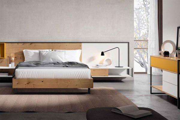 dormitorio matrimonio en madera y metal de estilo moderno de Mesegué