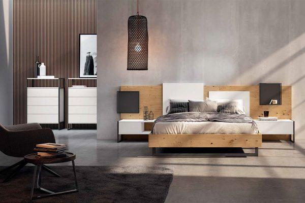 dormitorio de matrimonio en madera y metal