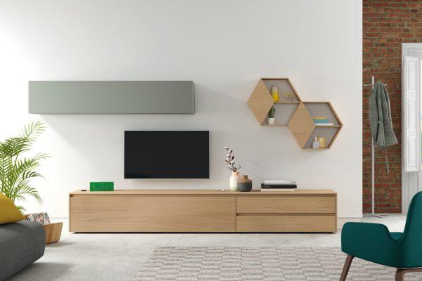 Mueble salón estilo moderno en madera de Mobenia