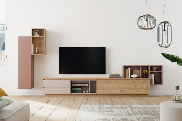 Mueble salón en madera y laca de Mobenia