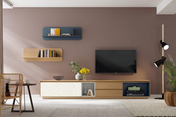 mueble tv en madera natural y laca de Mobenia