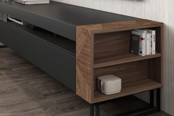 mueble tv en madera de nogal de mobenia