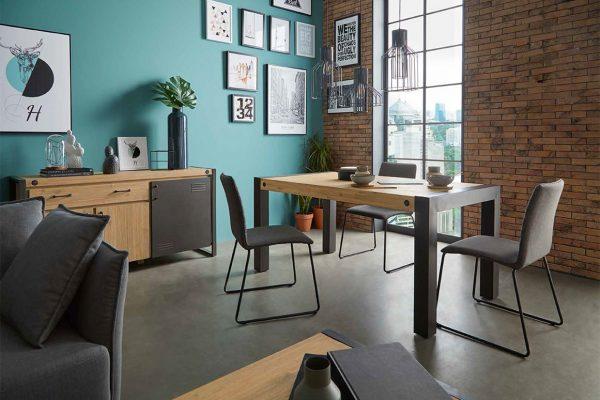 comedor estilo industrial en madera y metal