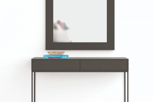 mueble recibidor moderno en metal y madera