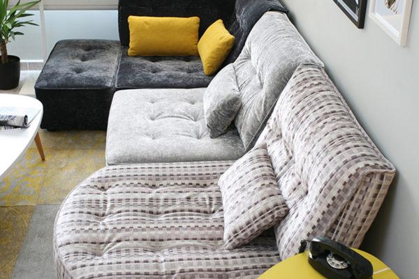 sofa arianne love de fama tapizado en terciopelo